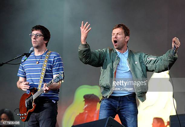 REQUIRED Graham Coxon and Damon Albarn of Blur perform at the British Summer Time 2015 at Hyde Park on June 20 2015 in London England