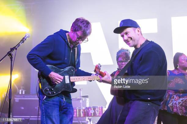 Graham Coxon and Damon Albarn of Blur perform on stage in Africa Express The Circus part of Waltham Forest London Borough of Culture 2019 at the Big...
