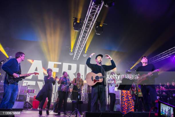 Graham Coxon Damon Albarn and Alex James of Blur perform on stage in Africa Express The Circus part of Waltham Forest London Borough of Culture 2019...