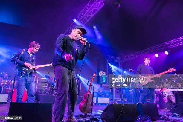 Graham Coxon Damon Albarn and Alex James perform on stage in Africa Express The Circus part of Waltham Forest London Borough of Culture 2019 at the...