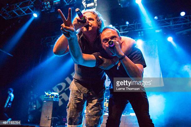 Graham Crabb and Mary Byker of Pop Will Eat Itself perform at The Forum on October 3, 2015 in London, England.