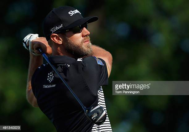 Graham DeLaet of Canada hits a tee shot during Round Two of the HP Byron Nelson Championship at the TPC Four Seasons Resort on May 16 2014 in Irving...