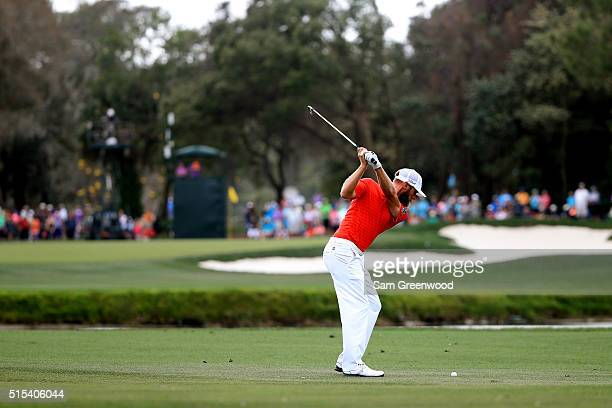 Graham DeLaet of Canada plays a shot on the third hole during the final round of the Valspar Championship at Innisbrook Resort Copperhead Course on...