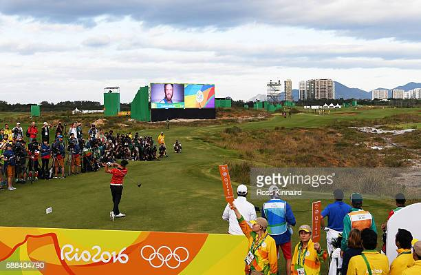 Graham Delaet of Canada plays his shot from the first tee during the first round of men's golf on Day 6 of the Rio 2016 Olympics at the Olympic Golf...