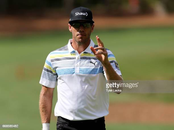Graham DeLaet of Canada reacts on the 15th hole during the second round of the 2017 RBC Heritage at Harbour Town Golf Links on April 14 2017 in...