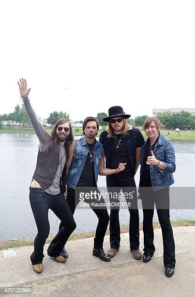 Graham DeLoach Zack Brown Michael Hobby and Bill Satcher of the band A Thousand Horses attend the ACM Party For A Cause Festival at Globe Life Park...