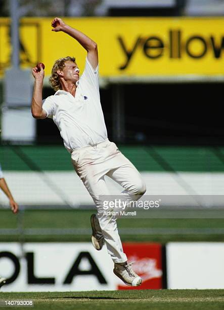 Graham Dilley of England bowling during the 1st Test of The Ashes series match against Australia on 16th November 1986 at the Brisbane Cricket Ground...
