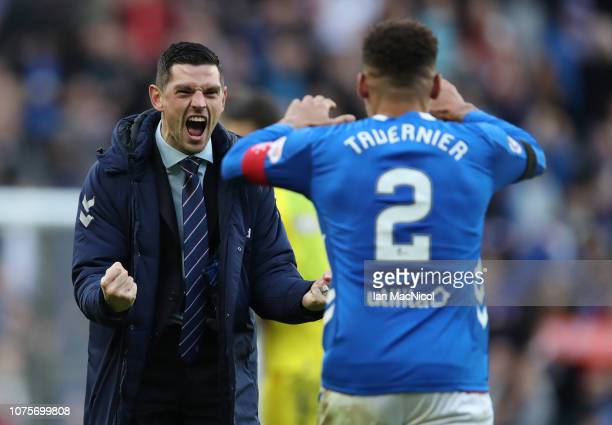 Graham Dorrans of Rangers celebrates at full time during the Ladbrookes Scottish Premiership match between Rangers and Celtic at Ibrox Stadium on...
