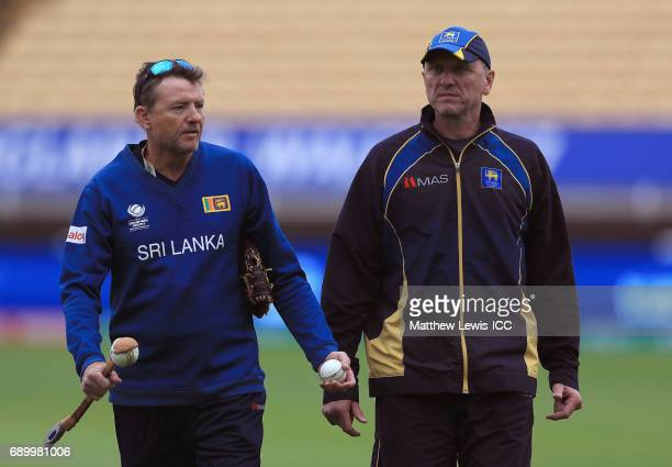 Graham Ford Coach of Sri Lanka looks on with Allan Donald during the ICC Champions Trophy Warmup match between New Zealand and Sri Lanka at Edgbaston...