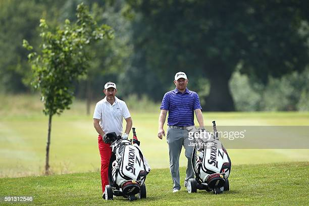 Graham Fox of Clydeway Golf and partner Gareth Wright of West Linton GC make their way to the green during day one of the PGA Fourball Championship...