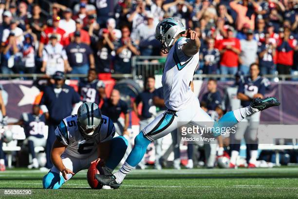 Graham Gano of the Carolina Panthers kicks a 48yard field goal during the fourth quarter to defeat the New England Patriots 3330 at Gillette Stadium...