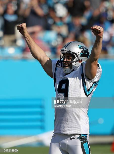 Graham Gano of the Carolina Panthers reacts after making a 63 yard field goal to win the game against the New York Giants at Bank of America Stadium...