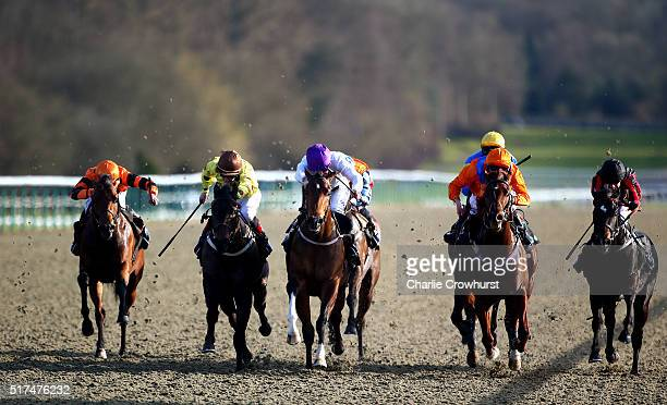 Graham Gibbons rides Wolowitz to win the Unibet 3 year old sprint all weather championships conditions stakes during the All Weather Championships...