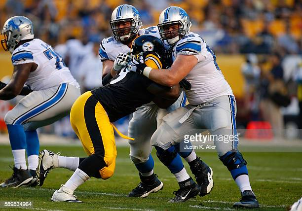 Graham Glasgow and Geoff Schwartz of the Detroit Lions in action during the game against the Pittsburgh Steelers on August 12 2016 at Heinz Field in...