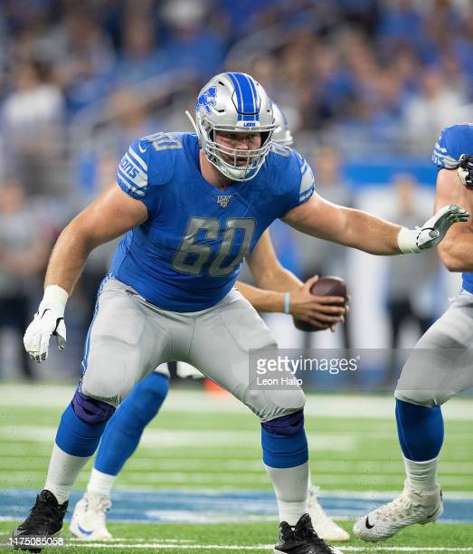 Graham Glasgow of the Detroit Lions drops back to block during the third quarter of the game against the Los Angeles Chargers at Ford Field on...