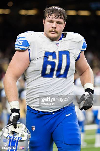 Graham Glasgow of the Detroit Lions jogs off the field during a game against the New Orleans Saints at MercedesBenz Superdome on October 15 2017 in...