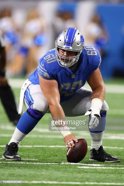 Graham Glasgow of the Detroit Lions palys against the New England Patriots at Ford Field on September 23 2018 in Detroit Michigan