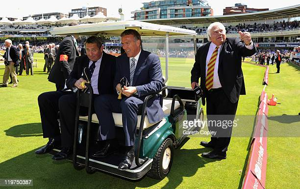 Graham Gooch Alec Stewart and Farokh Engineer during a parade of past captains to mark the 100th test match between England and India during day four...