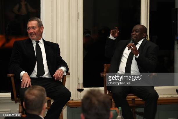 Graham Gooch and Gladstone Small are questioned by Alison Mitchell in the Q&A during the PCA Season Launch Dinner in the Long Room at Lord's Cricket...