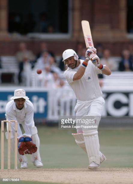 Graham Gooch batting for England during his careerbest score of 333 in the 1st innings of the 1st Test match between England and India at Lord's...