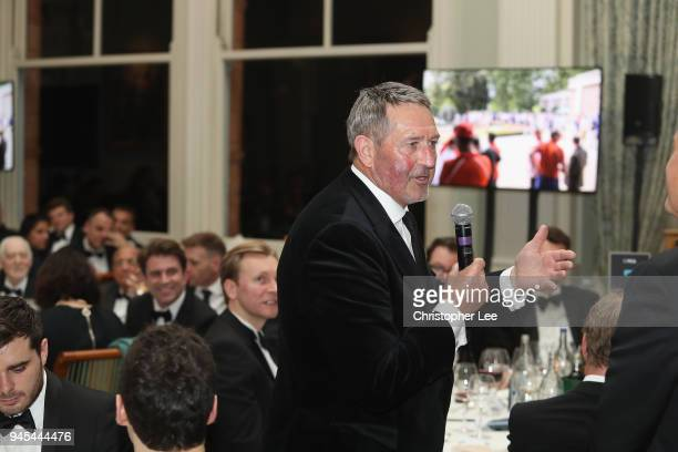 Graham Gooch is asked questions by Mark Nicholas during the PCA Long Room Dinner at Lord's Cricket Ground on April 12, 2018 in London, England.