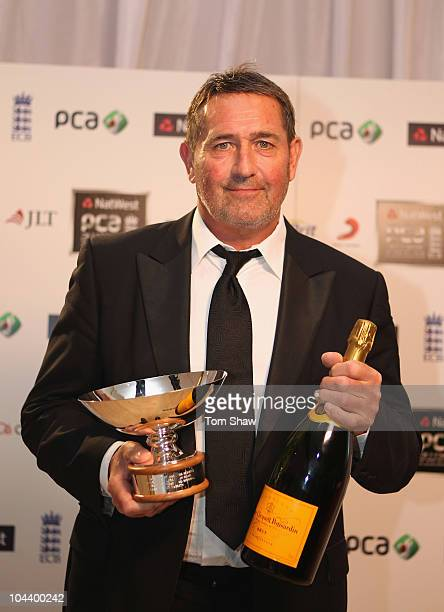 Graham Gooch of England accepts the award for the Natwest best one day team of the last 30 years during PCA Awards dinner at the Hurlingham Club on...