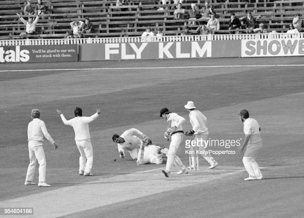 Graham Gooch of England misses a chance off the bat of Simon O'Donnell of Australia during the 5th Test match between England and Australia at...