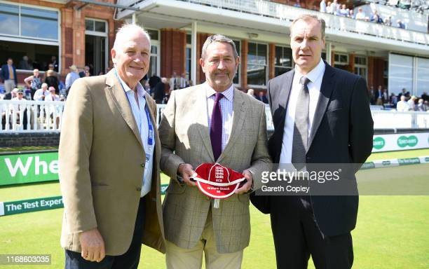 Graham Gooch receives a cap from John Emburey and John Neal in recognition of his coaching work during day four of the 2nd Specsavers Ashes Test...