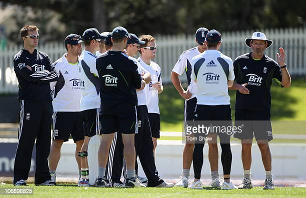 Graham Gooch the England batting coach talks to the batsmen during an England nets session at Bellerive Oval on November 16 2010 in Hobart Australia