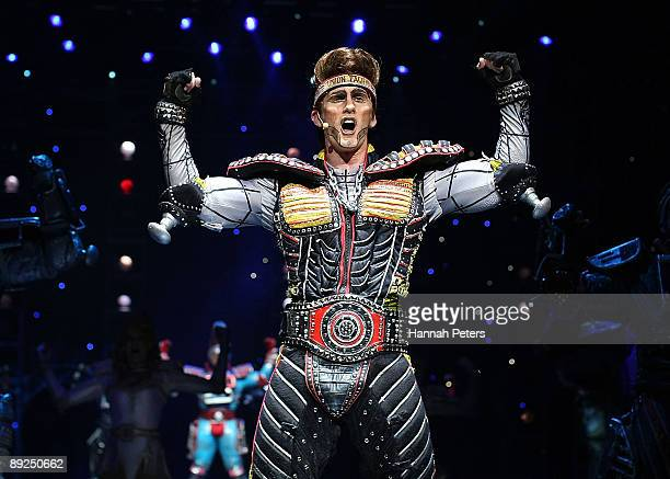 Graham Harvey who plays the character 'Greaseball' in 'Starlight Express' appears on stage during the show's Auckland opening night at Vector Arena...