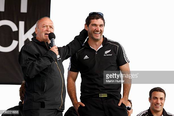 Graham Henry and Stephen Donald on stage at Hagley Park during the New Zealand All Blacks 2011 IRB Rugby World Cup celebration parade on October 25...