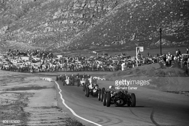 Graham Hill, BRM P48, Grand Prix of the United States, Riverside International Raceway, 20 November 1960. Racing near the California desert in...