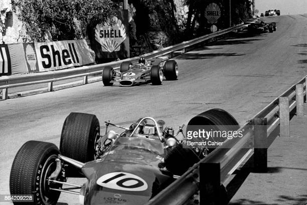 Graham Hill Jackie Oliver LotusFord 49B Grand Prix of Monaco Circuit de Monaco 26 May 1968 Graham Hill at the wheel of his Lotus 49B goes by the...