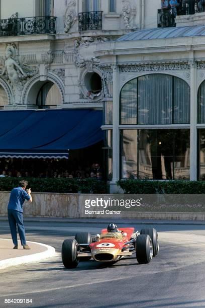 Graham Hill LotusFord 49B Grand Prix of Monaco Circuit de Monaco 26 May 1968 Graham Hill racing through Casino Square at the wheel of his Lotus 49B...