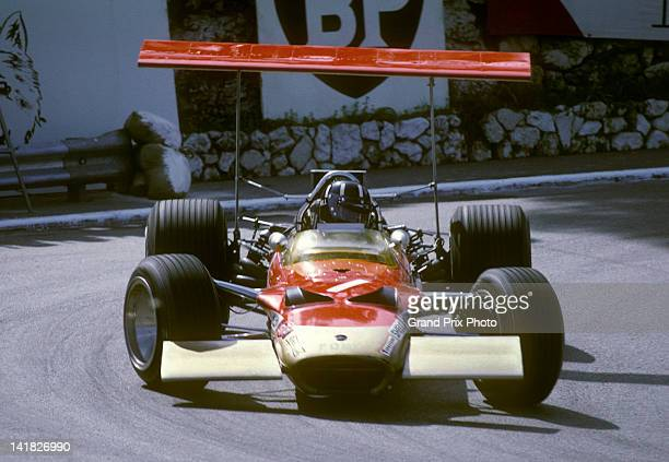 Graham Hill of Great Britain drives the high rear winged Gold Leaf Team Lotus Lotus 49B Ford Cosworth V8 during practice for the Monaco Grand Prix on...