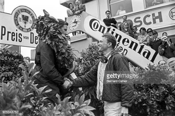 Graham Hill OR Phil Hill, Dan Gurney, BRM P57, Ferrari 156, Porsche 804, Grand Prix of Germany, Nurburgring, 05 August 1962. Dan Gurney, who finished...
