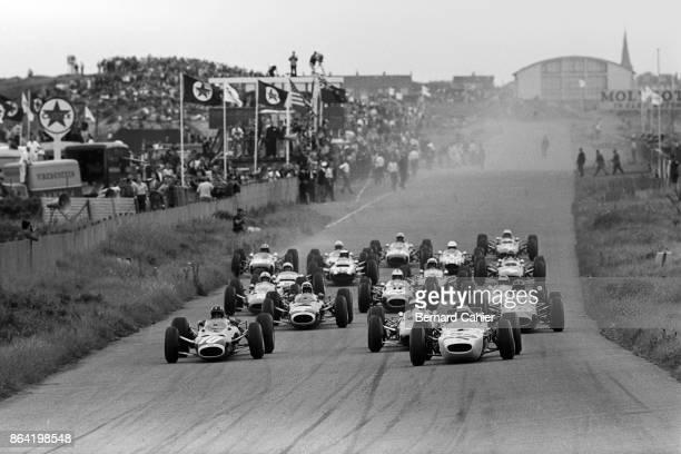 Graham Hill Richie Ginther Jim Clark Jackie Stewart Dan Gurney BRM P261 Honda RA272 BrabhamClimax BT11 Grand Prix of the Netherlands Circuit Park...