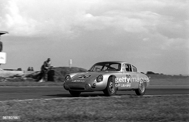 Graham HillDan Gurney's PorscheAbarth 356B Carrera GTL at St Mary's in the Tourist Trophy Goodwood England 19 Aug 1961