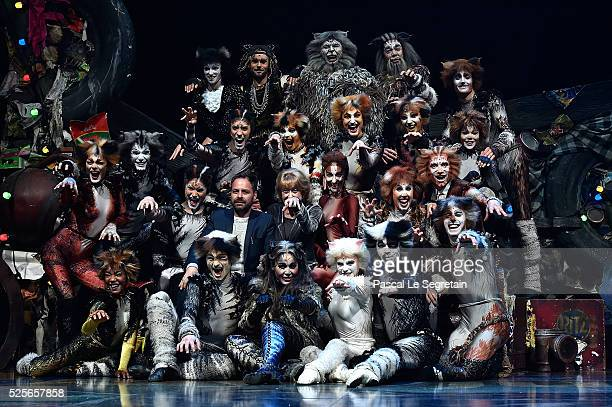 Graham Hurman Gillian Lynne and Chimene Badi pose on stage with dancers during the Cats Premiere at Theatre Mogador on April 28 2016 in Paris France