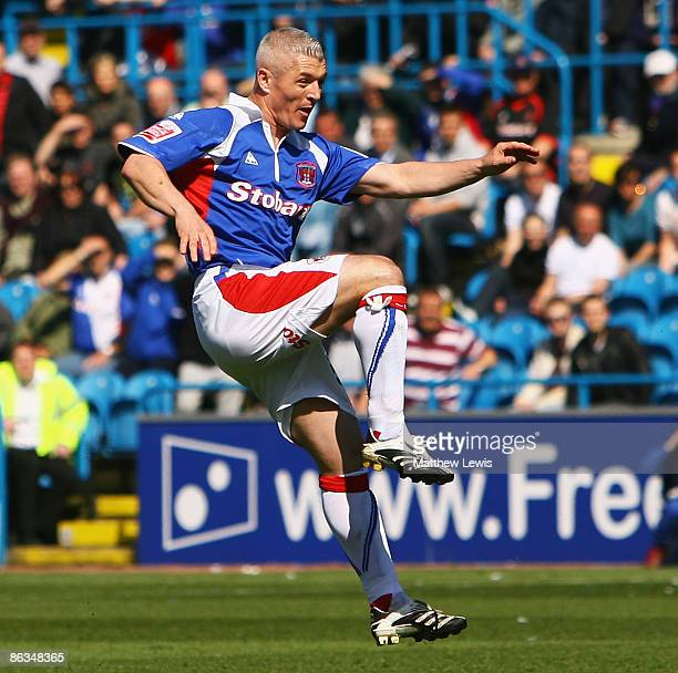 Graham Kavanagh of Carlisle scores a goal during the Coca-Cola Football League One match between Carlisle and Millwall at Brunton Park on May 2, 2009...