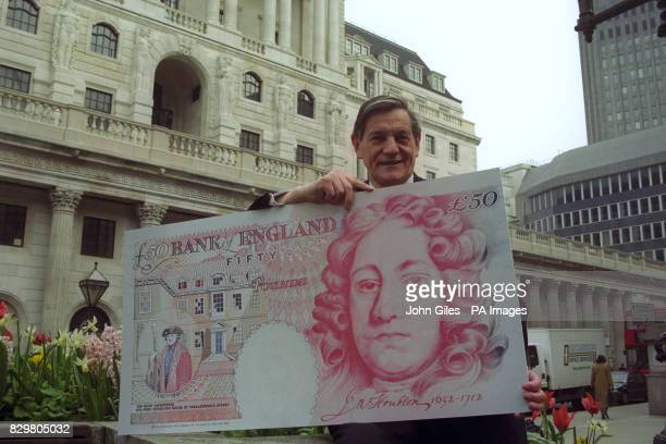 Graham Kentfield chief cashier of the Bank of England the man whose signature appears on all Bank of England notes stands in front of the Bank of...