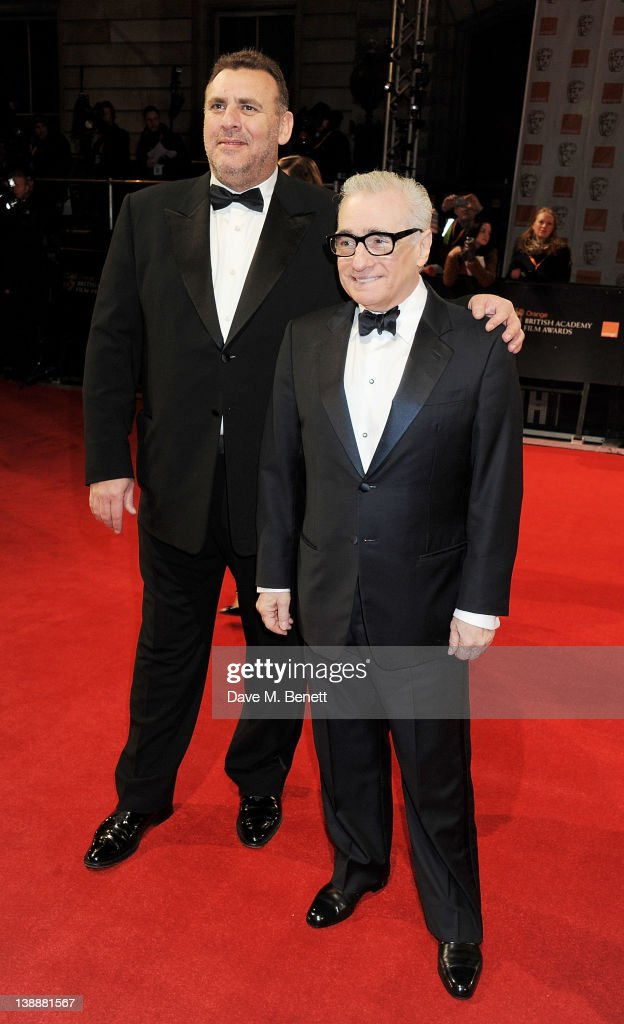 Graham King (L) and Martin Scorsese arrive at the Orange British Academy Film Awards 2012 at The Royal Opera House on February 12, 2012 in London, England.