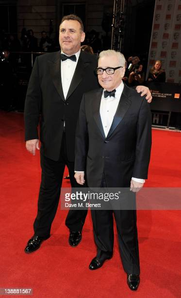 Graham King and Martin Scorsese arrive at the Orange British Academy Film Awards 2012 at The Royal Opera House on February 12 2012 in London England