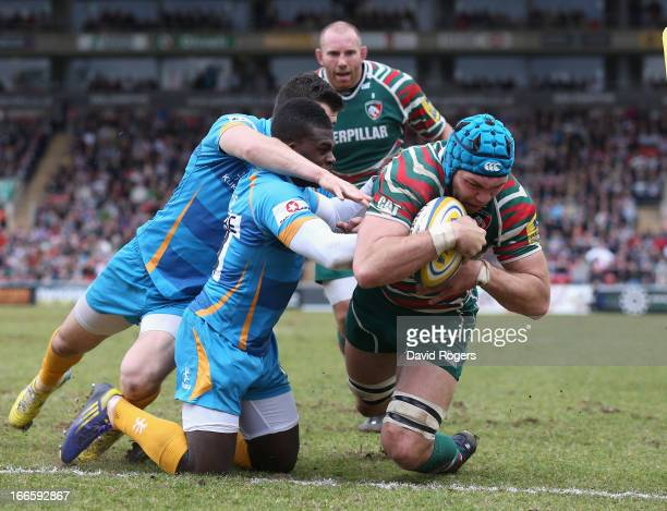 Graham Kitchener of Leicester dives over for the second try during the Aviva Premiership match between Leicester Tigers and London Wasps at Welford...