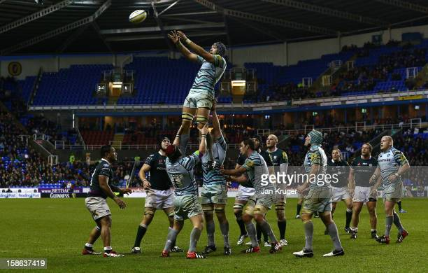 Graham Kitchener of Leicester Tigers takes a clean line-out ball during the Aviva Premiership match between London Irish and Leicester Tigers at...