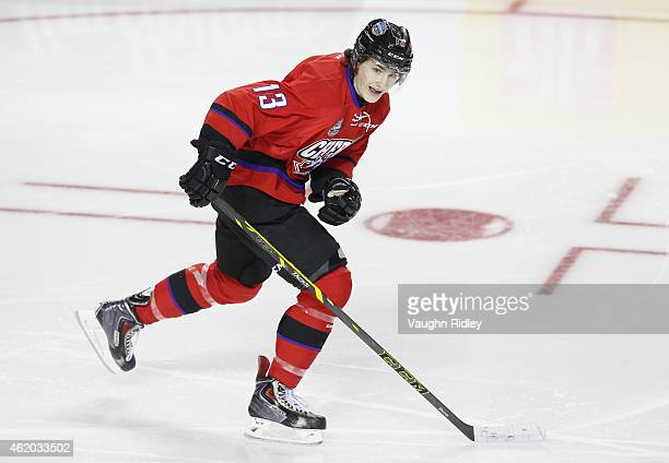 Graham Knott of Team Cherry skates during the 2015 BMO CHL/NHL Top Prospects Game against Team Orr at the Meridian Centre on January 22 2015 in St...
