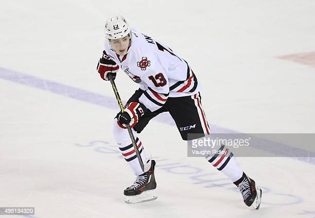 Graham Knott of the Niagara IceDogs skates during an OHL game against the Kingston Frontenacs at the Meridian Centre on October 24 2015 in St...