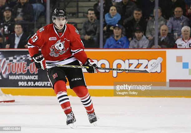 Graham Knott of the Niagara IceDogs skates during Game 3 of the Eastern Conference QuarterFinals against the Ottawa 67's at the Meridian Centre on...