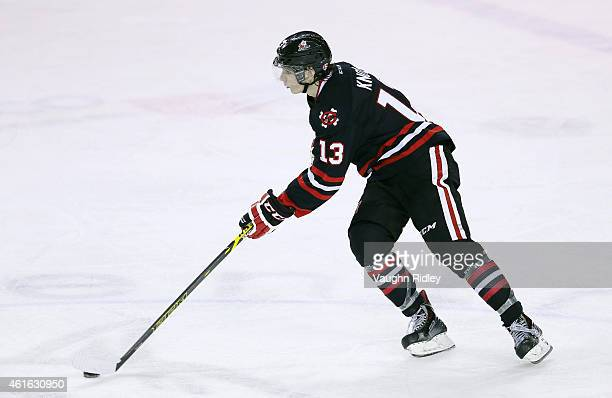 Graham Knott of the Niagara IceDogs skates with the puck during an OHL game against the Mississauga Steelheads at the Meridian Centre on January 13...