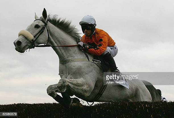 Graham Lee and Grey Abbey clear an early fence before landing The Pillar Property Steeple Chase Race run at Cheltenham Racecourse on January 29 2005...